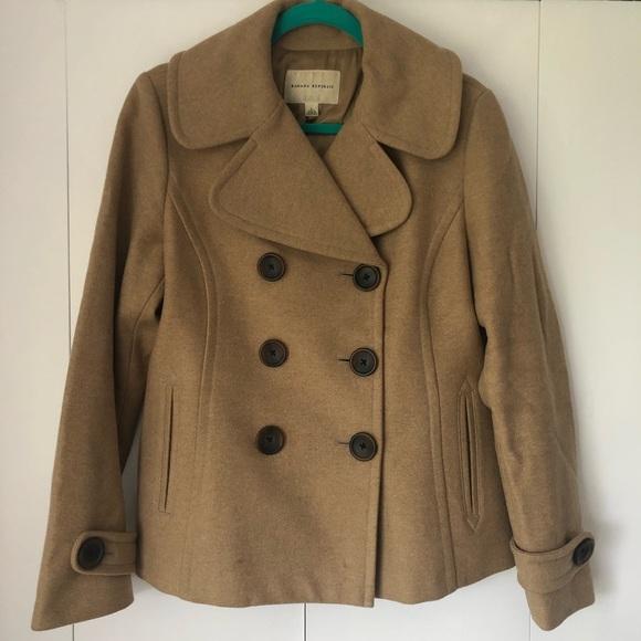 Banana Republic Jackets & Blazers - Banana Republic tan wool, double-breasted peacoat